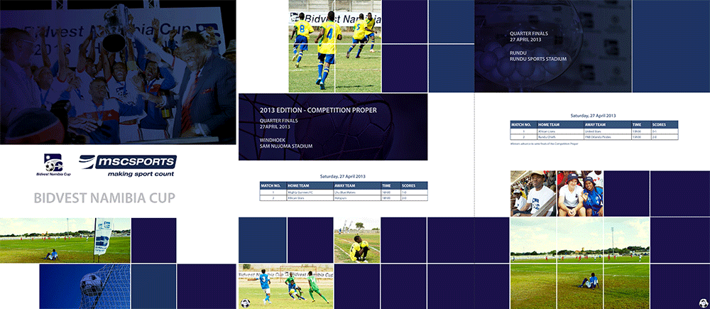 Design and layout taken from booklet for Bidvest Namibia Cup and MSCSPORTS