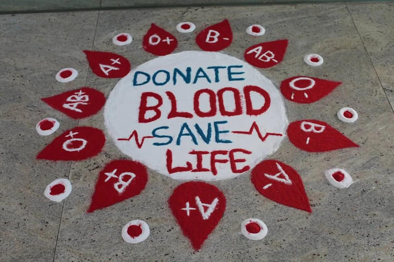 Donate Blood Save Life rangoli