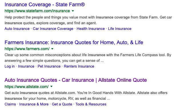 top keywords for insurance
