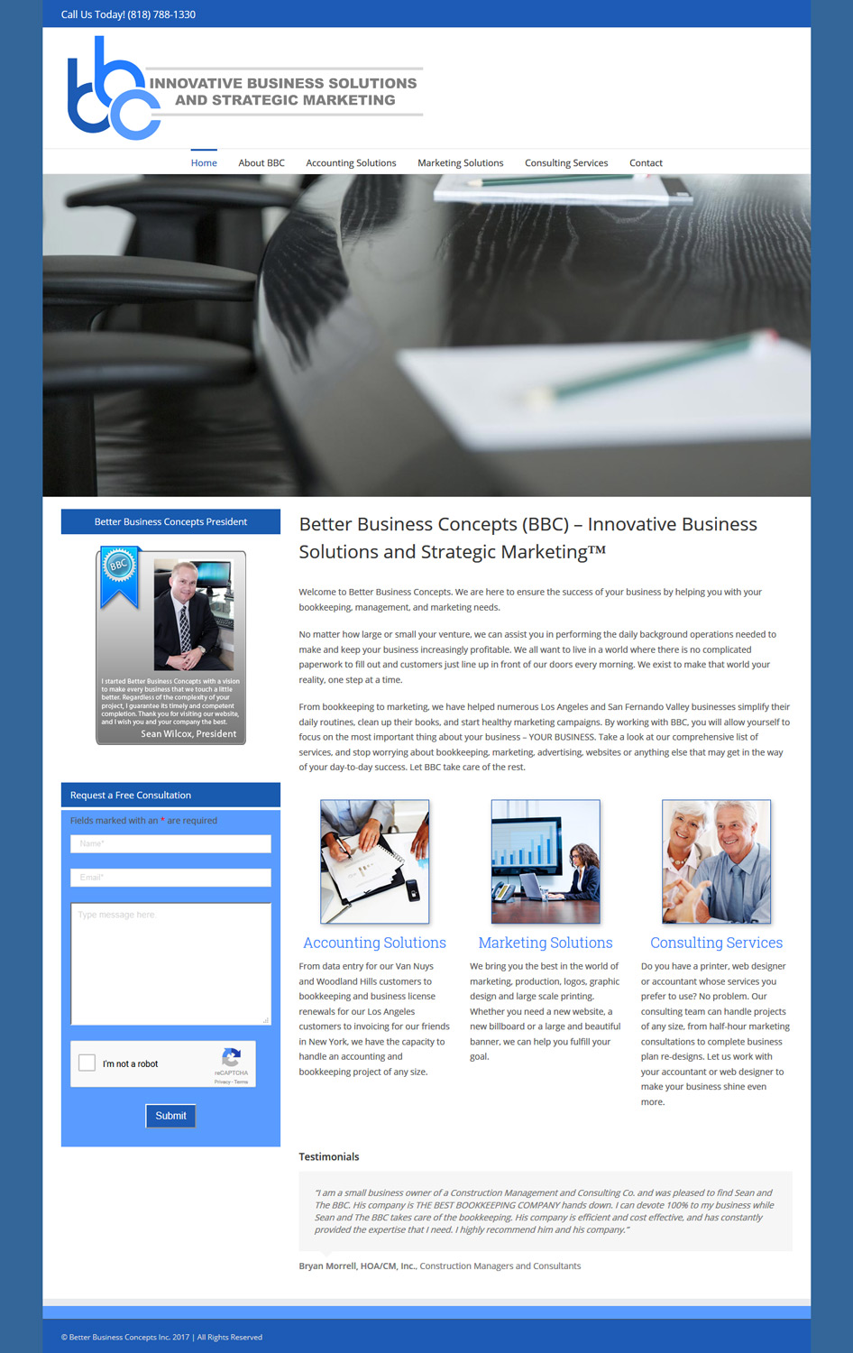 Better Business Concepts website homepage