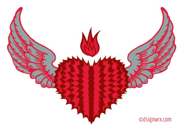 Fire Spike Heart with Wings
