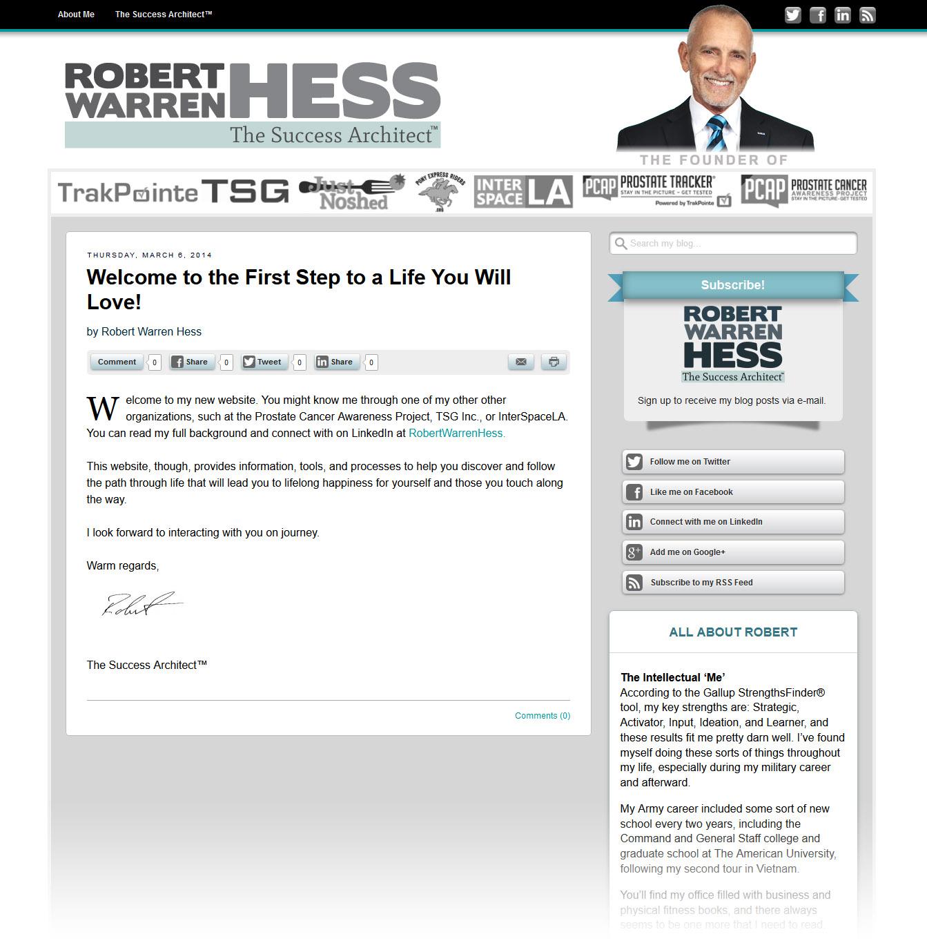RobertWarrenHess.com Web Design and Implementation
