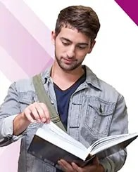 College Student reading book