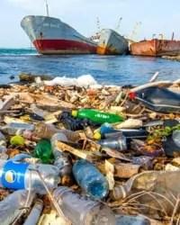Plastic bottles waste near ocean