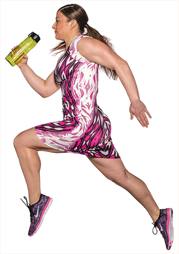 Jax printed sheath dress in pink, black and white ($134 at Von Maur). Nike Free 5.0 shoe in black, white and pink ($84.99 at Nike Factory Store). Nike T1 Flow water bottle ($15 at Nike Factory Store).