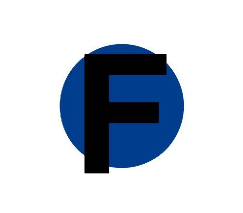 La F negra en una capa, y el círculo azul en otra capa distinta.