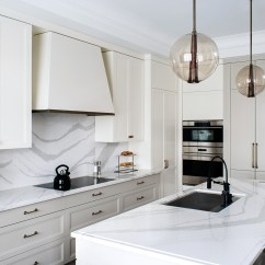 Ikea Shaker Kitchen Cabinets Farmhouse Cambria Quartz Brittanicca Countertops White ...