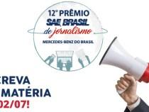 Abertas as inscrições para 12º Premio SAE Brasil de Jornalismo