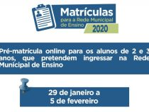 Municipio inova e lança pré matricula online para alunos de 02 e 03 anos