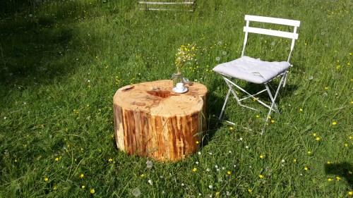 massiver Holztisch aus einem Baumstamm