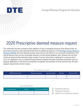 Prescriptive Deemed Measure Request