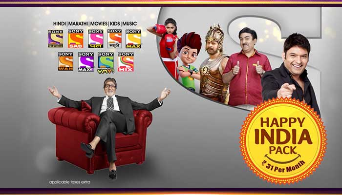 Sony Happy India All Pack Channel List & Price - Rs.12 To Rs.93