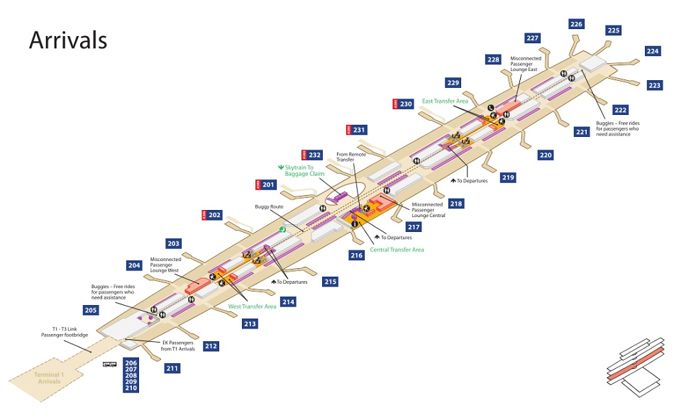Emirates Terminal 3 Arrivals Map