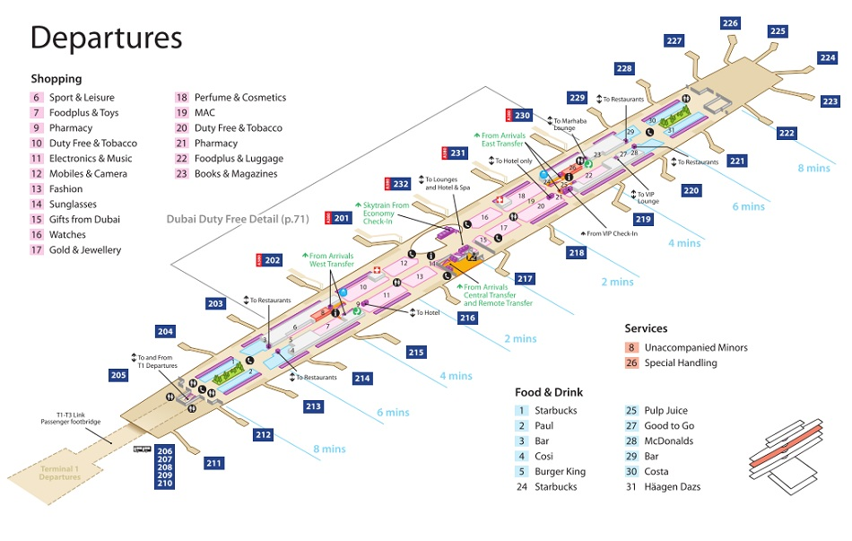 Dxb Airport Map Dubai Airport Terminal 3 Maps   Emirates Terminal Map Dxb Airport Map
