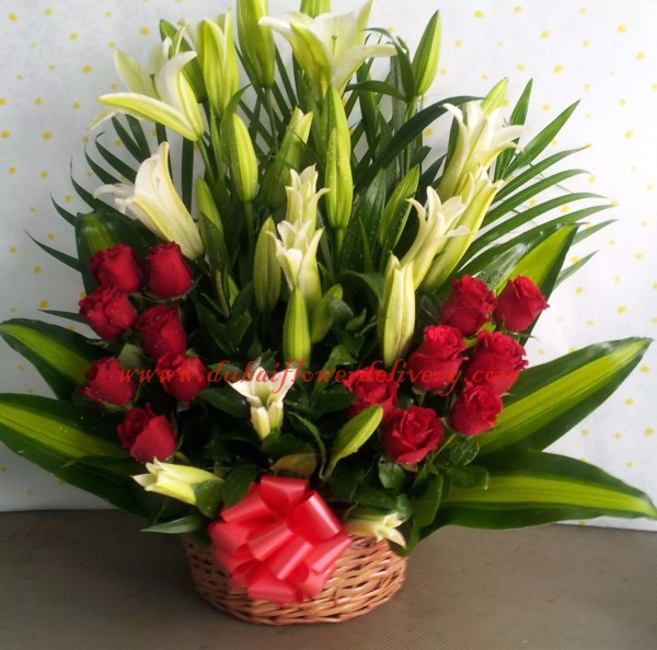 Red white flowers basket brings unity of love and peace