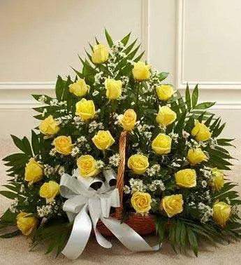 25 yellow roses in basket to deliver free.