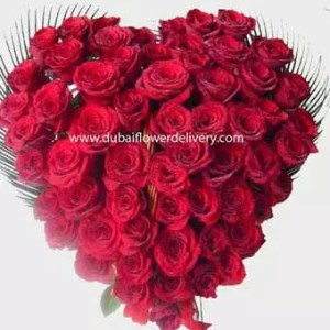 51 red roses heart shaped basket