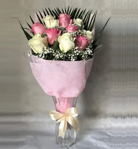 pink white roses delivery for same day