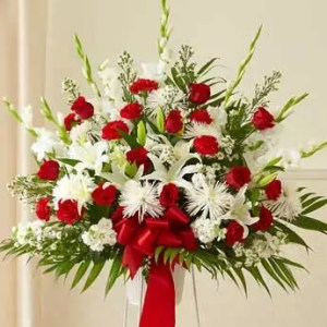 red white flowers stand 4 feet