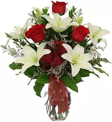 white lilies red roses vase for prompt promise