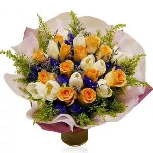 Baby boy iris tulips bouquet