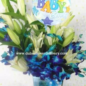 Baby boy flowers balloon combination