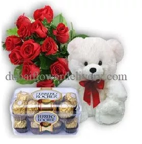 red roses bouquet teddy chocolates