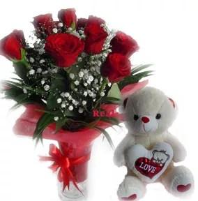 12 red roses vase teddy valentine