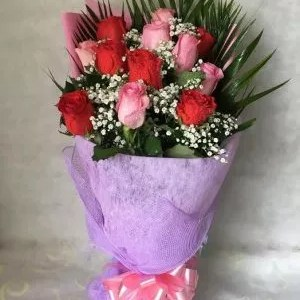 Together ever 12 red pink roses bouquet Dubai