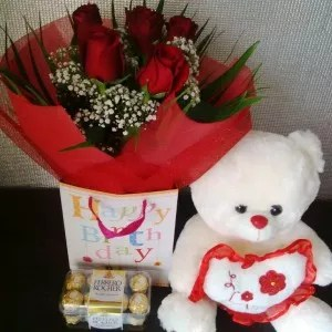 Birthday Bag with Roses, Chocolates, Teddy