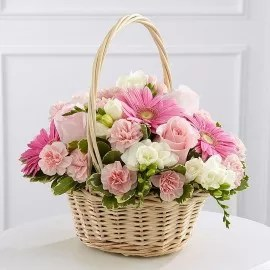 Light Pink Flowers Basket