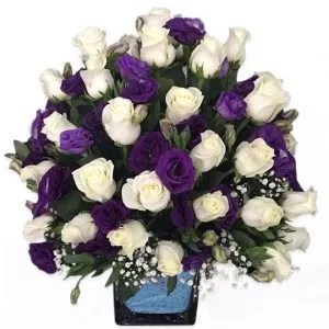 White Roses with Blue Flowers