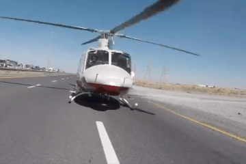 UAE Ministry of Interior Highway Helicopter Ambulance Paramedics Injured Motorist