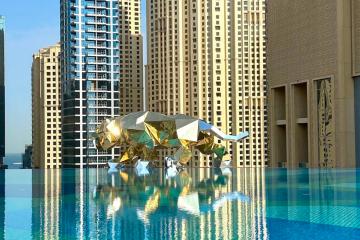 Huge gold gorilla and tiger seen flying through Dubai