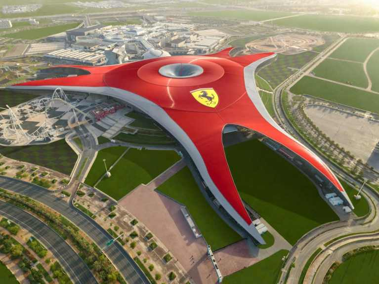 You can now take a walk on the Ferrari World Roof and have a zipline race