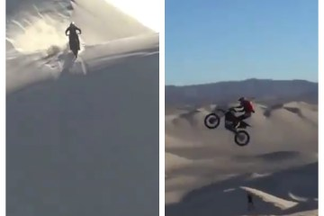 This next-level desert motorbike stunt is like something from a James Bond film