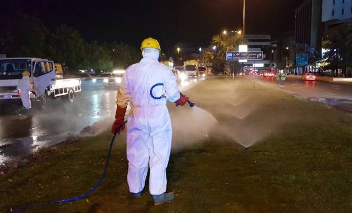 Car parking areas, kerbs and streets were cleaned and sprayed with disinfectants to ensure the safety of residents.