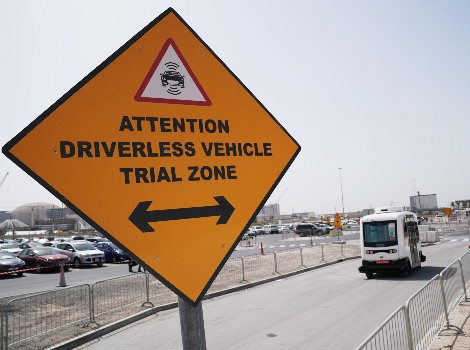 Starting trial run of autonomous vehicle at Expo 2020 site