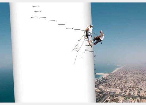 Rope climbing platform on Ain Dubai ferris Wheel