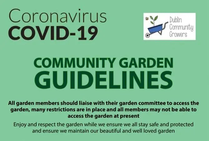 Top half of Covid-19 poster with guidelines for community gardens