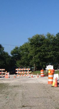 Construction along the intersection of Race and Clay streets in Huntingburg