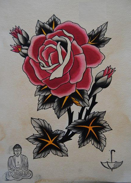 Japanese Monk And Rose Drawing Tattoo Best Tattoo Ideas
