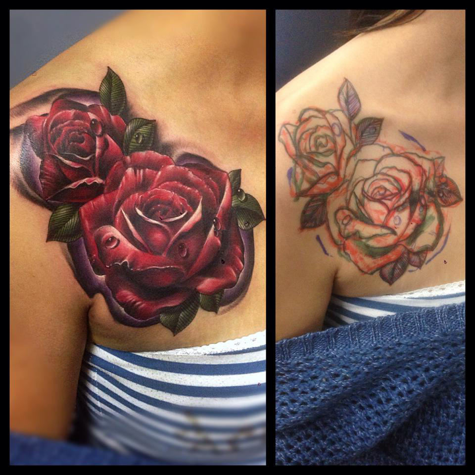 Rose Tattoo Cover Up: Red Roses Cover Up Flower Tattoo
