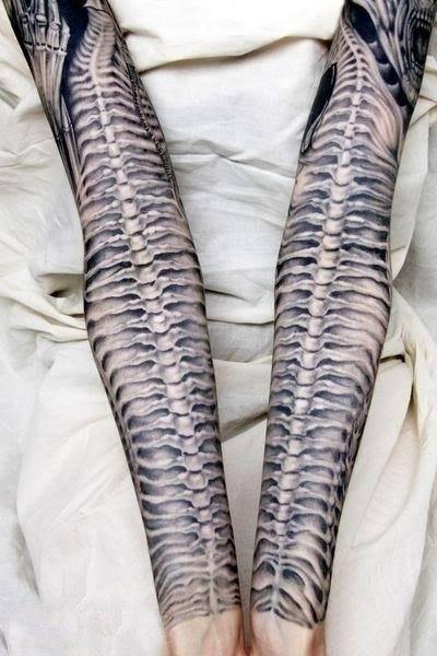 snake spine alien tattoo sleeve