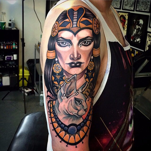 Egyptian Queen Sphynx Tattoo On Shoulder