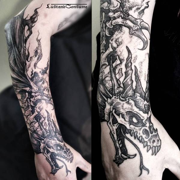 dragon skeleton tattoo