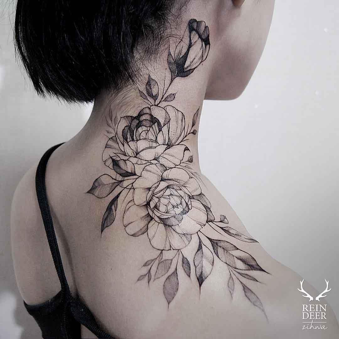 Female Neck Tattoos Gallery