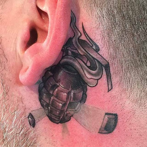 Grenade Tattoo Behind Ear Best Tattoo Ideas Gallery