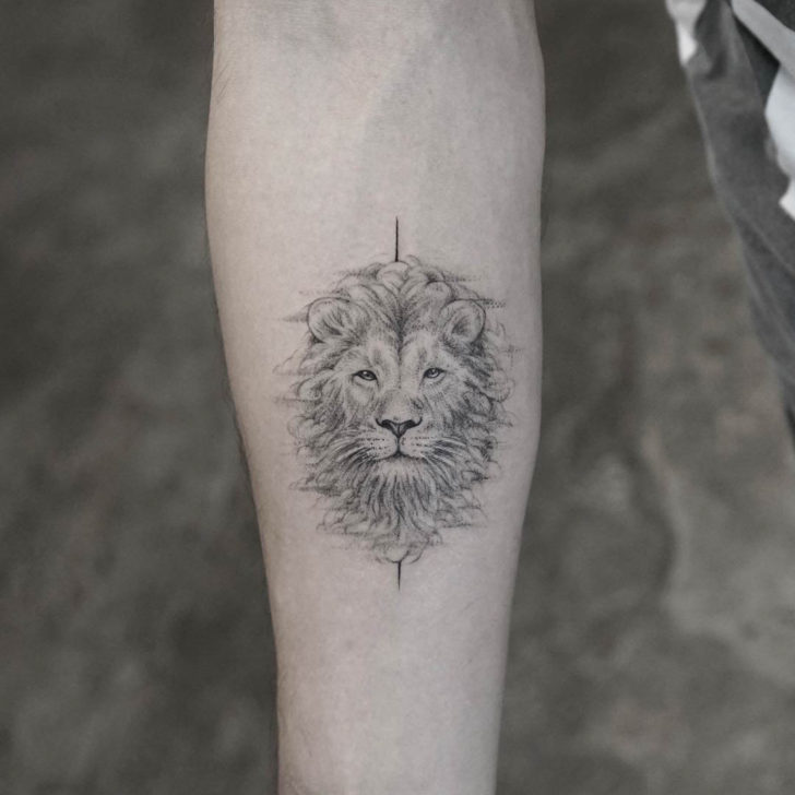 Half Lion Face Tattoo