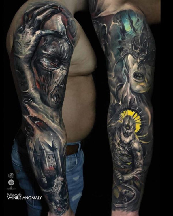 evil tattoo sleeve
